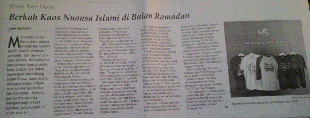 Berita Kaos Dakwah di Koran Kontan