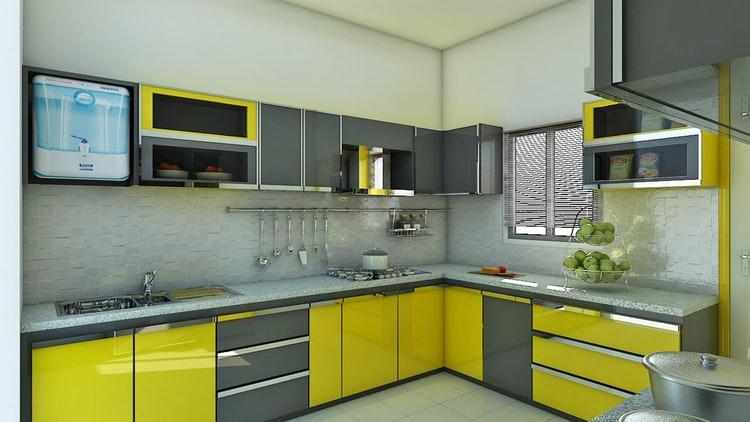 Dapur dengan meja berbentuk L, unsplash @idinteriors