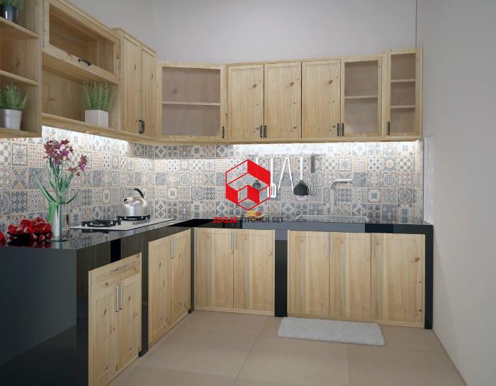 Desain 3D kitchen set dari kayu jati Belanda